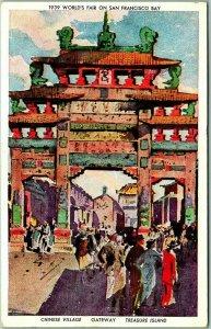 1939 GGIE San Francisco Expo Postcard CHINESE VILLAGE - Gateway w/ Cancel
