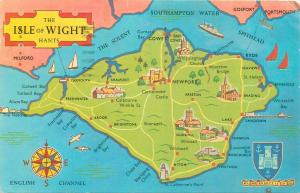 Isle of Wight map postcard