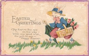 Easter Fantasy~Art Deco Dressed Rabbit~Bunny on His Way~Flower Basket~1928 PC