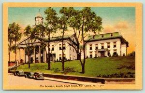 New Castle PA~Lawrence County Court House~Annex~1940s Colorcraft Linen Postcard