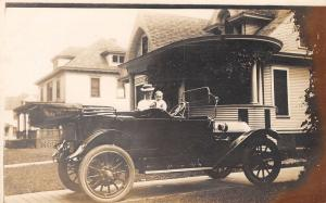 Man Show Off His c1910 Convertible Automobile To His Infant~Rounded Porch RPPC