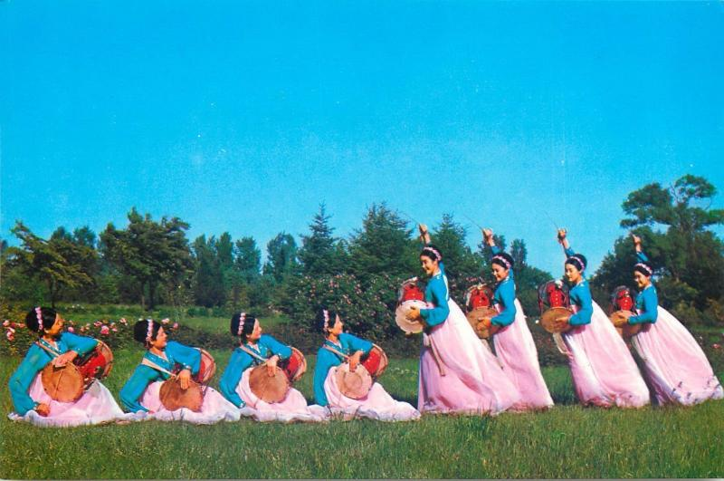 China 1970s postcard chinese beauties dancers traditional music instruments