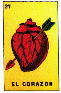 The Heart with Arrow El Corazon Mexican Loteria Postcard