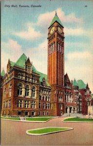 City Hall TORONTO Ontario Canada linen VINTAGE UNPOSTED Postcard