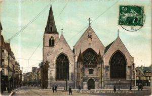 CPA ed. AQUA 2310 ROUEN La rue et l'Église St-Vivien (214822)