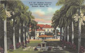Miami Forida~Widener Fountain-Club House Lawn @ Hialeah~Purple Bushes~Palms~'40s