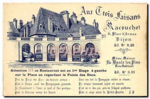 Old Postcard Aux Trois pheasants Racouchot Restaurant Place d & # 39armes Dijon