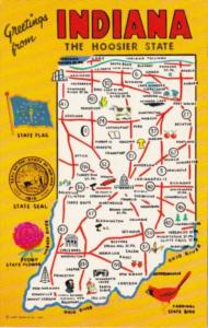 Greetings From Indiana With Map