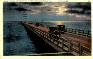 Tampa, Florida - The Gandy Bridge by Moonlight - in the Cigar City - in 1936