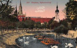 Konstanz Schwanenteich River Boats Church Postcard