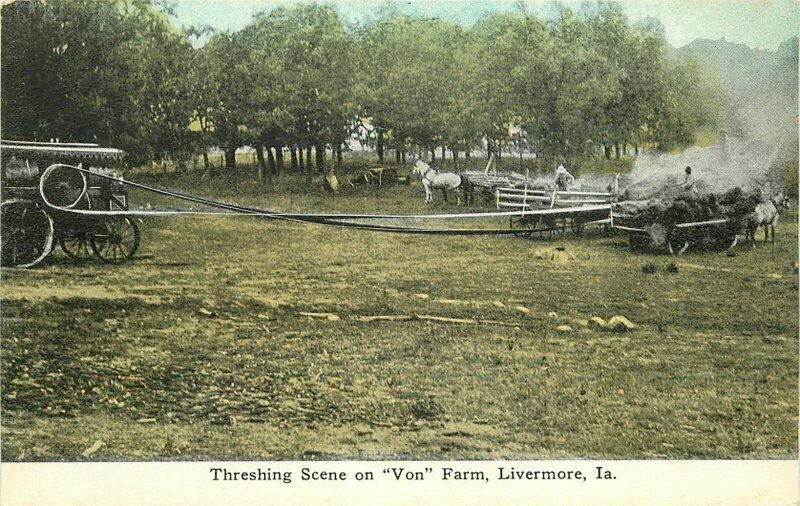 C-1910 Farm Agriculture Steam Tractor Von Farm Livermore Iowa Postcard 20-4205