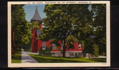 Virginia colour PC Lee Chapel, Washington & Lee University, Lexington, unused