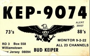 QSL Radio Card From Williamstown New Jersey KEP-9074