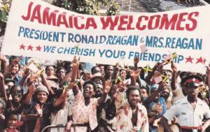 Jamaica welcomes Ronald Reagon , 1982