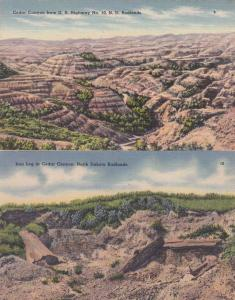 (2 cards) Cedar Canyon in Badlands ND, North Dakota - pm 1954 - Linen