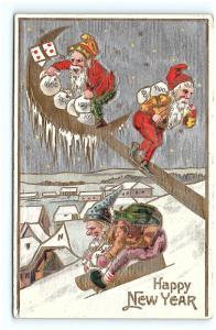 Postcard Happy New Year Elves Stealing Money From the Moon 1908 G02