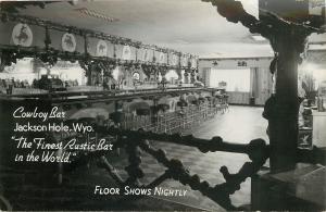 Jackson Hole Wyoming~Cowboy Bar Interior~Half Jukebox?~1960s Real Photo Postcard