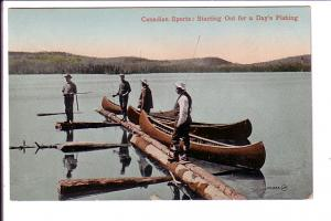 Starting Out for a Day's Fishing, Canadian Sports Series, Four Men with Canoes