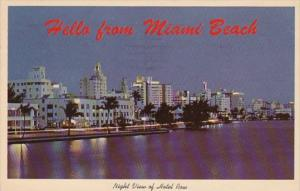 Florida Miami Beach Night VIew Of Hotel Row and Indian Creek 1965