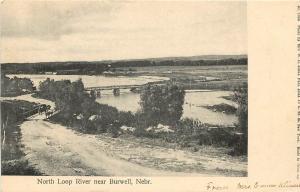 c1907 Lithograph Postcard; Bridges, North Loop River, Burwell NE Garfield County