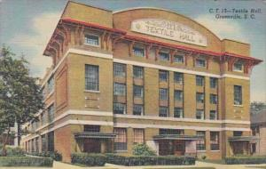 South Carolina Greenville Textile Hall 1954 Curteich