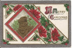 Chocolate Santa Clause Framed in Red Poinsettia and Holly Vintage Postcard