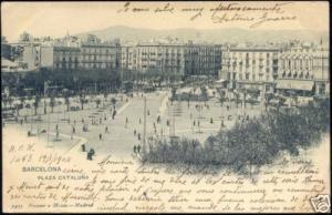 spain, BARCELONA, Plaza Cataluña (1904) Stamp