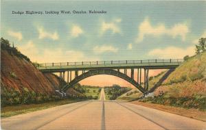 Vintage Linen Postcard; Dodge Highway looking West, Omaha, NE Unposted