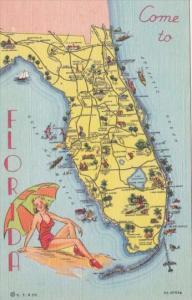 Florida Map 1940 Curteich
