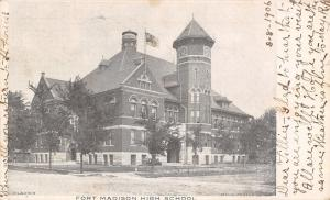 Fort Madison Iowa~High School~1906 B&W Postcard