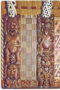 Postcard New Zealand Carved Panels Tukutuku Kaokao Free Shipping  # 2371