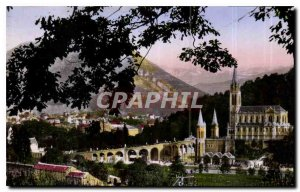 Old Postcard Lourdes Basilica and the Pic Jer