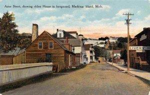 Astor Street Oldest House Mackinac Island Michigan 1910c postcard