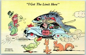 1940s RAY WALTERS Comic Postcard Fishing I Got the Limit Here KROPP Linen C56