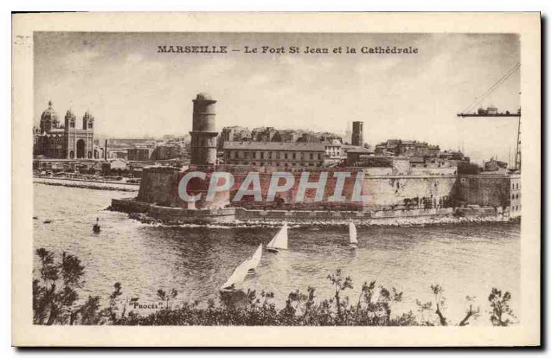 Postcard Old Marseille Fort St John and the Cathedral