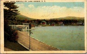 Lake George New York~West End Pergola~Canoes on Dock~  postcard 1923