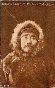 Eskimo Chief St. Michael Tribe Alaska AK 1920 Mitchell Litho Postcard E74 *as is