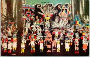 Vintage Arizona Hopi Indians Postcard KACHINA DOLL DISPLAY c1950s Chrome Unused