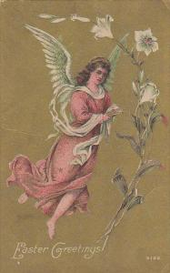 Easter Greetings Angel With Easter Lilies 1912