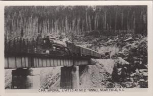 RP: C.P. IMPERIAL Train on Railroad Bridge , No2 Tunnel near Field, B.C. , Can