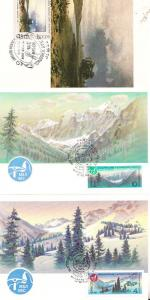 Russian Russia Mountain Ice Ski Slopes Forest Scene 3 First Day Cover Postcard