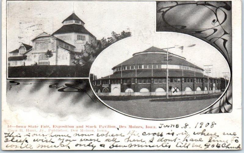 1908 Des Moines, Iowa Postcard Iowa STATE FAIR, Exposition & Stock Pavilion