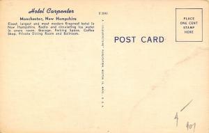 Manchester NH~Hotel Carpenter~Art Deco Marine & Dining Rooms~1950 Linen Postcard