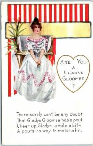 Vintage Whitney VALENTINE'S DAY Postcard ARE YOU A GLADYS GLOOMEE? c1910s