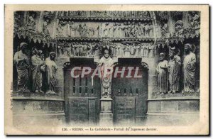 Old Postcard Reims Cathedral Portal Last Judgment