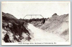 Pattonsburg Missouri~Hope Drainage Ditch~Through Truss Bridge~1920s B&W Postcard