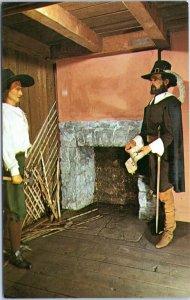 postcard Musee Historique wax museum - Champlain vising settler home