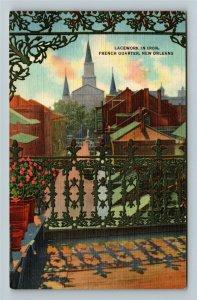 New Orleans LA-Louisiana,Lacework Balcony Old French Quarters,Linenc1948Postcard