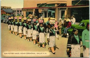 1940s GALLUP New Mexico Postcard Zuni Pottery Maids, Indian Ceremonial Linen