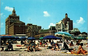 Postcard NJ New Jersey Atlantic City Sunbathe Umbrella Swimmers Hotels Beach